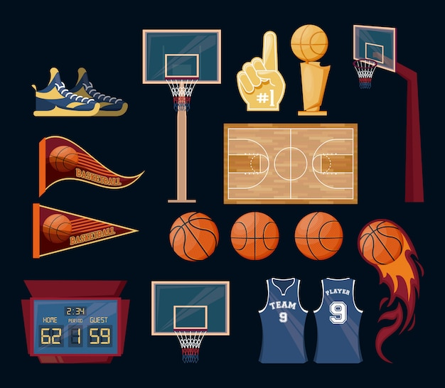 Basketball sport game set of items Free Vector
