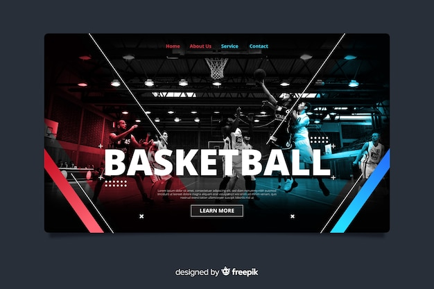 Basketball sport landing page Free Vector