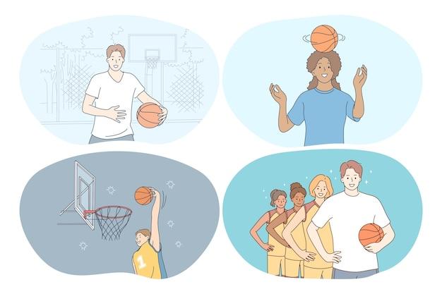 농구, 스포츠, 팀 경쟁 개념. 프리미엄 벡터