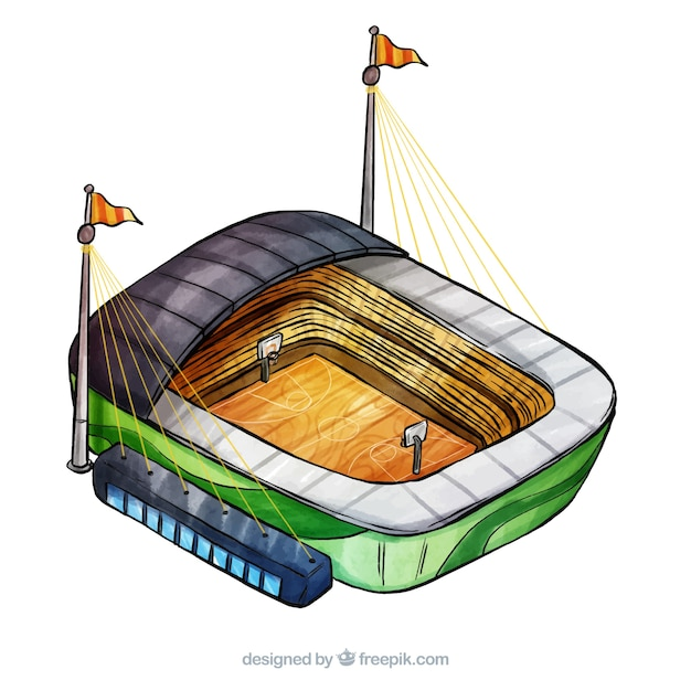 Basketball stadium in isometric style