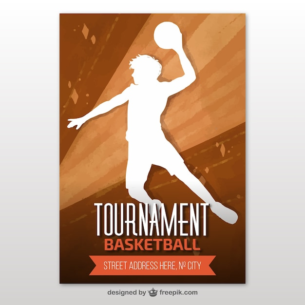 basketball tournament brochure with player silhouette vector free