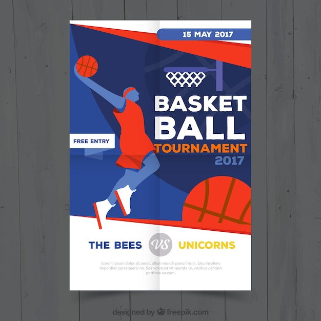 basketball tournament brochure with player vector free download