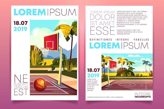 Basketball Tournament Cartoon Promo Brochure Or Invitation Flyer