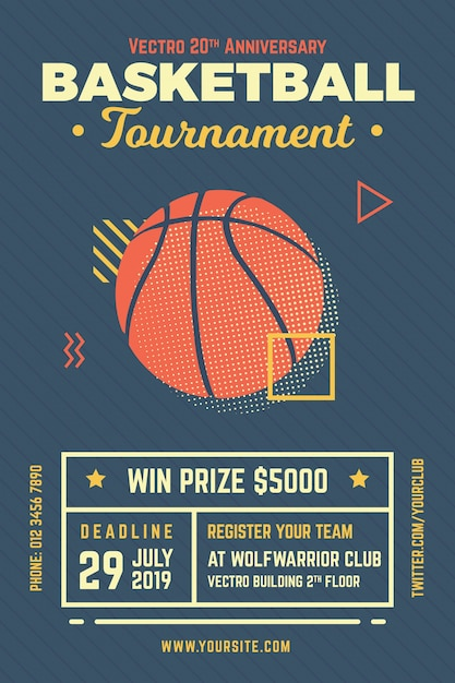 basketball tournament flyer vector premium download