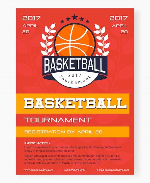 Basketball tournament poster Free Vector