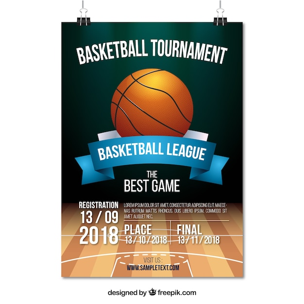 Basketball tournament poster Free Vector