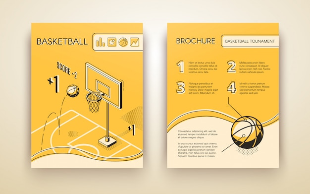 Basketball tournament promotional brochure or advertising flyer line art Free Vector