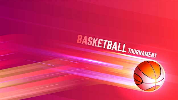 Basketball tournament sports background with lights Free Vector