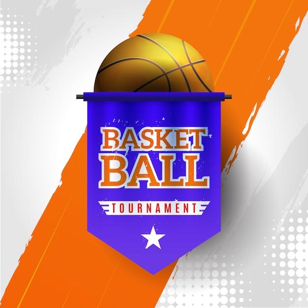 Баскетбольный турнир с оранжевым и белым фоном Бесплатные векторы