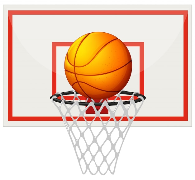 Basketball with basketball board and net\ illustration