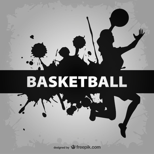 Basketball woman player silhoeuette with black\ paint splashes