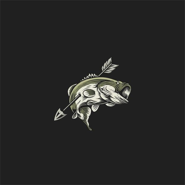 Bass fishing illustration design Premium Vector