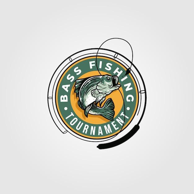 Логотип турнира по рыбалке Premium векторы
