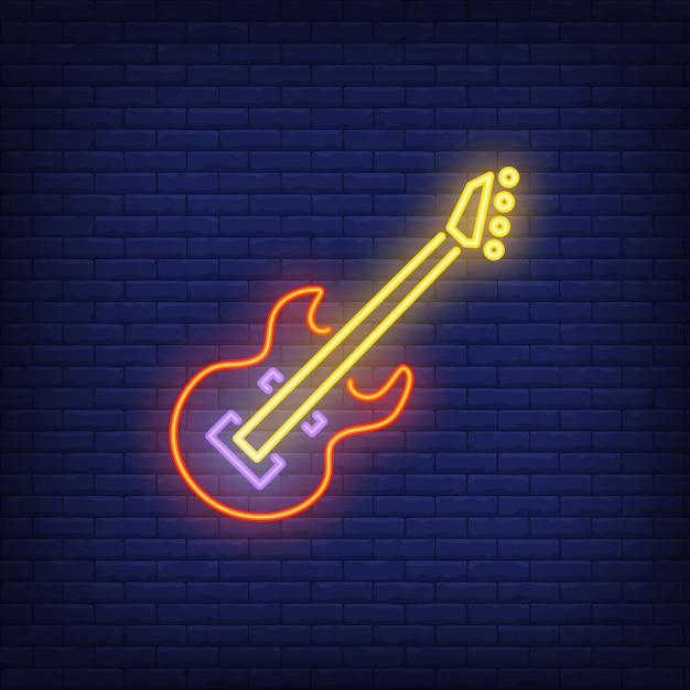 Bass guitar neon sign Free Vector