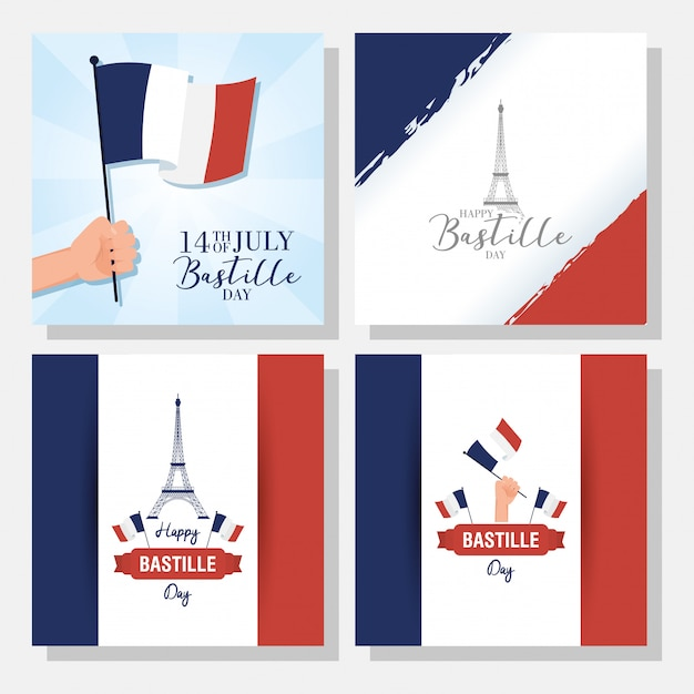 Bastille day celebration with set banners Premium Vector