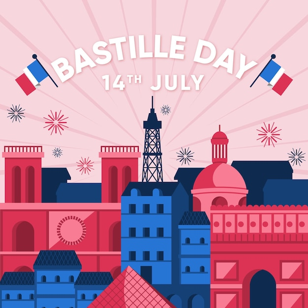 Bastille day concept in flat design Free Vector