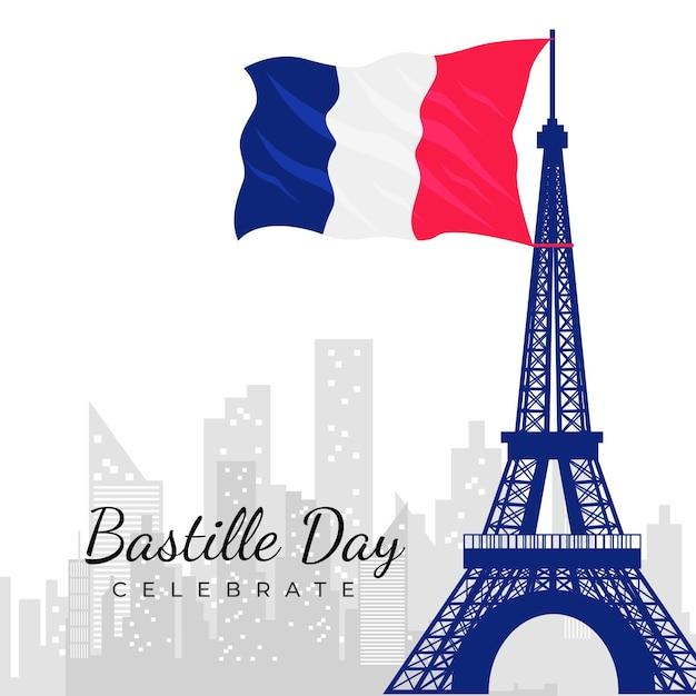 Bastille day concept in flat design Free Vector