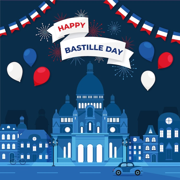 Bastille day concept Free Vector