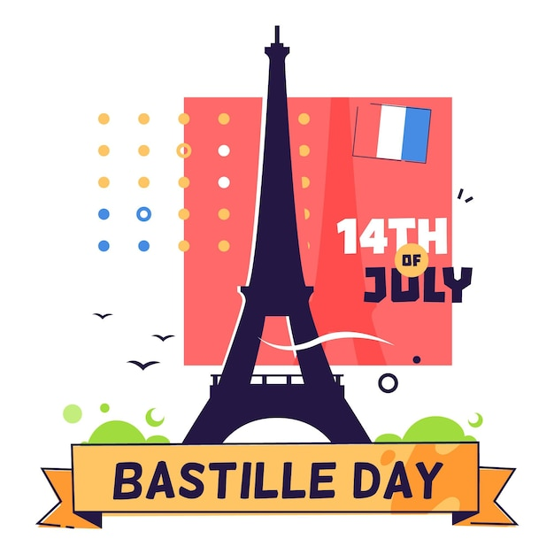 Bastille day illustrated concept Free Vector