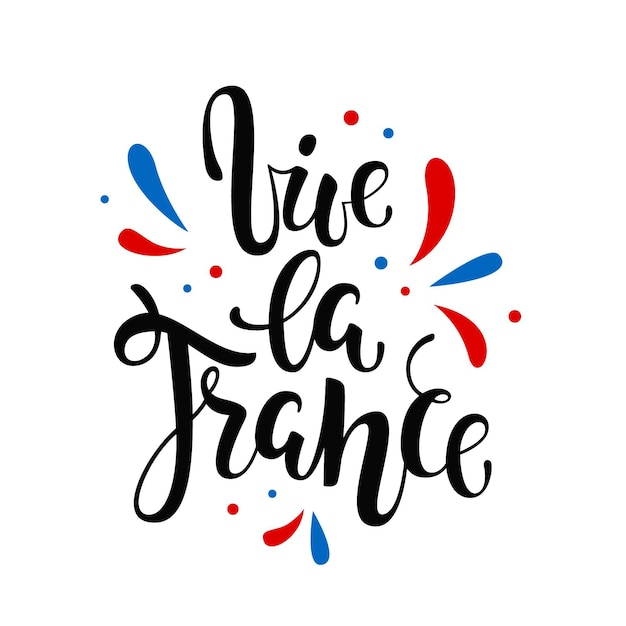 Bastille day lettering with leaves Free Vector