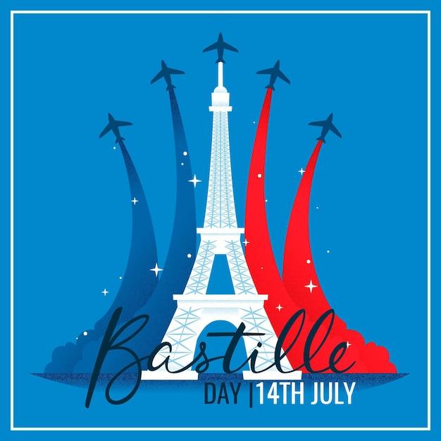 飛行機とエッフェル塔のあるフランス革命記念日 無料ベクター