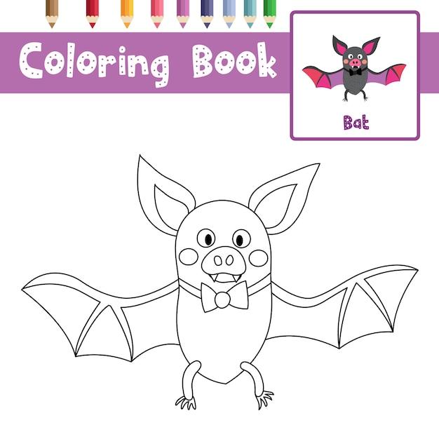 Bat coloring page Premium Vector