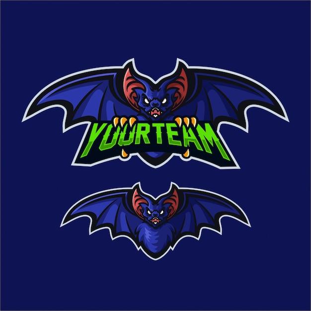 Bat esport gaming mascot logo template Premium Vector