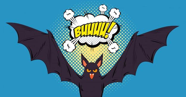 Bat flying halloween style pop art Premium Vector