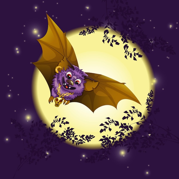 The bat is flying against the background of the moon. Premium Vector
