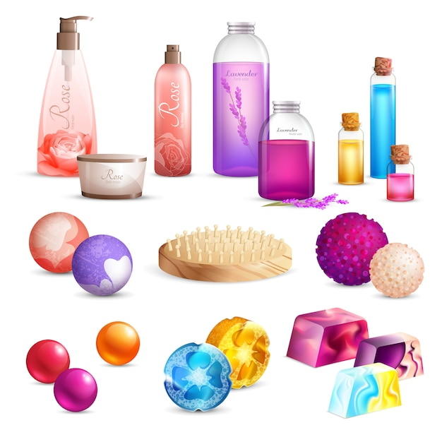 Bath beauty products set Free Vector