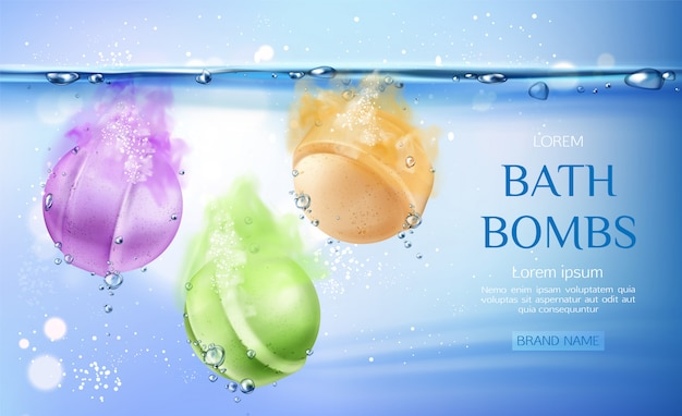 Bath bombs in water, spa cosmetics beauty product for body care Free Vector