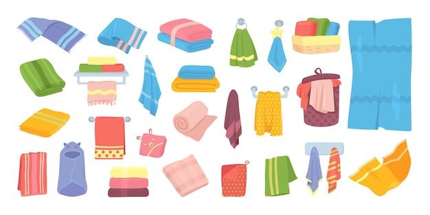イラストのバス生地タオルセット。バスルーム、キッチン、衛生繊維のホテルの綿布タオル。柔らかく折りたたみ、白に掛かっている国産タオルコレクション。 Premiumベクター