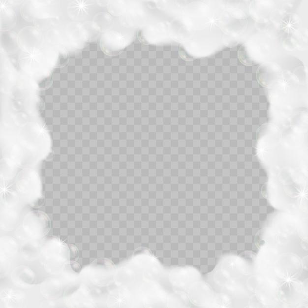 Bath foam frame isolated on transparent Premium Vector