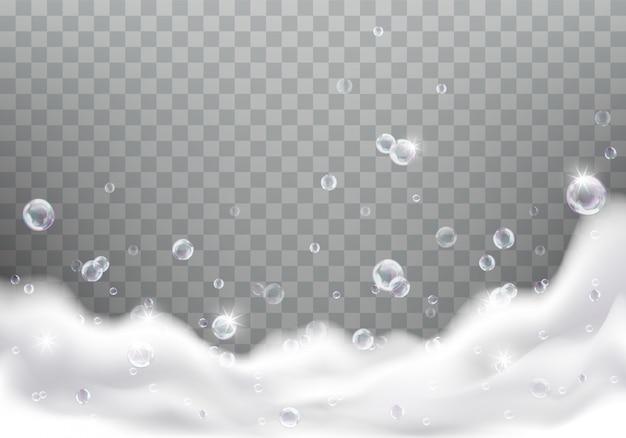 Bath foam or soap suds realistic Free Vector