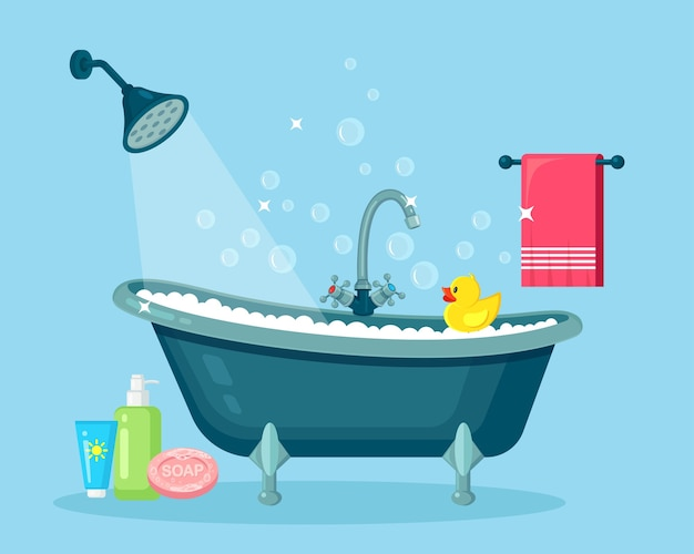 泡だらけのお風呂。バスルームインテリアシャワータップ、石鹸、バスタブ、ゴム製のアヒル、ピンクのタオル Premiumベクター
