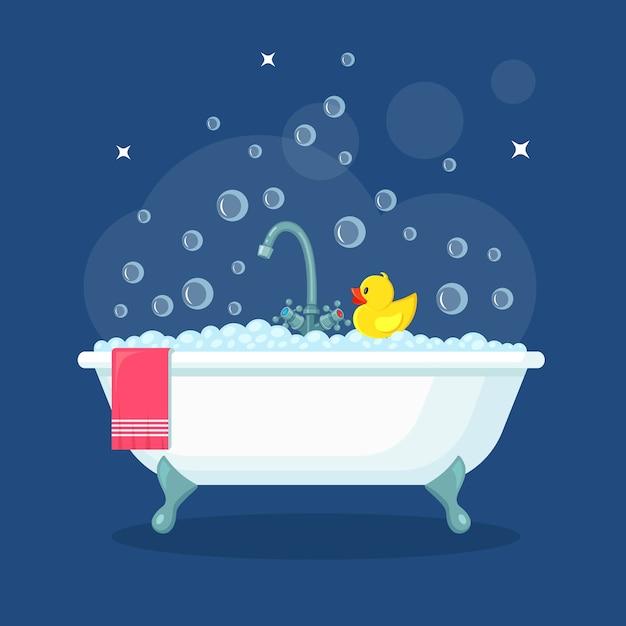 泡だらけの泡だらけのお風呂。バスルームのインテリア。シャワータップ、石鹸、バスタブ、ゴム製のアヒル、タオル Premiumベクター