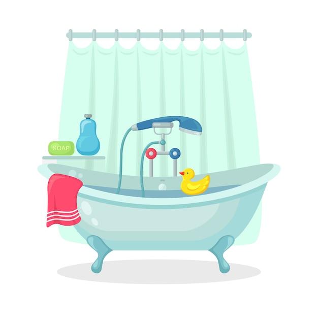 背景に分離された泡と泡でいっぱいのお風呂。バスルームのインテリア。シャワーの蛇口、石鹸、バスタブ、ゴム製のアヒル、ピンクのタオル。入浴やリラックスのための快適な設備 Premiumベクター