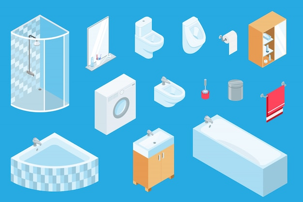 Bath furniture, isometric constructor of sanitary engineering, bathroom interior 3d design, isolated furniture elements on blue. Premium Vector