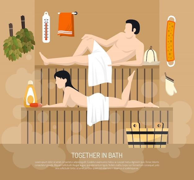 Bath sauna family visit illustration poster Free Vector