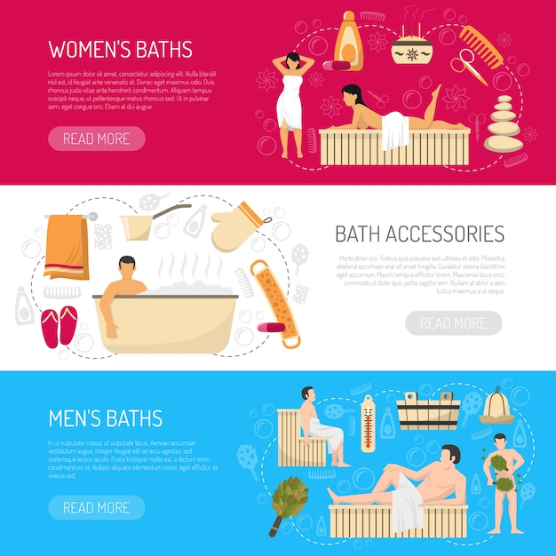 Bath sauna spa horizontal banners set Free Vector