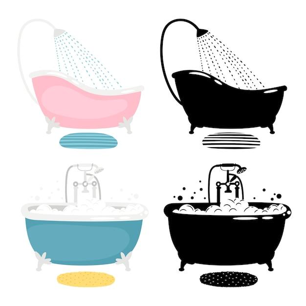 Bath of set  on white background Premium Vector