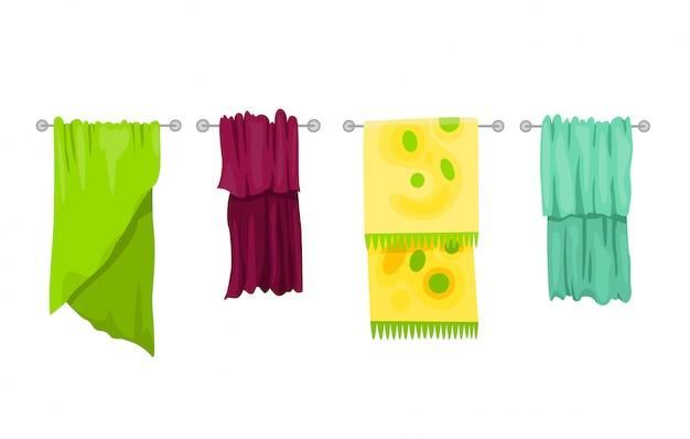 Bath towel. cartoon towels  set. cloth towel for bath, illustration of cartoon fabric towel for hygiene Premium Vector