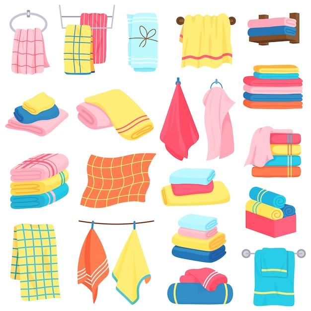 Bath towels. fabric cartoon fluffy bath textile. bathroom, kitchen soft fabric towels  illustration icons set. fabric hotel textile, bathroom towel folded Premium Vector