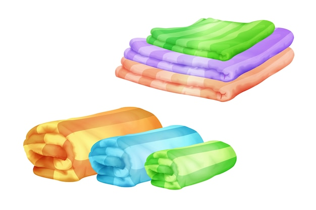 Bath towels illustration of color towel piles folded and rolled. Free Vector