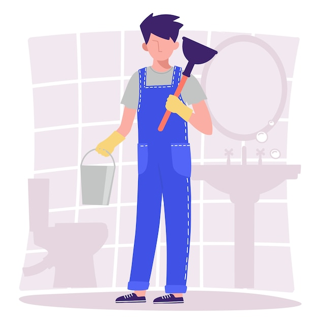 Ванная. сантехник в комбинезоне держит ведро и вантуз. иллюстрация в стиле плоский дизайн. Premium векторы