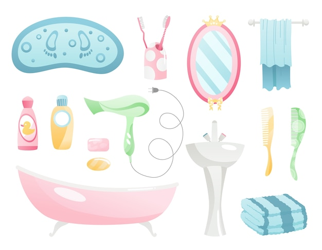 Bathroom cartoon elements collection. Premium Vector