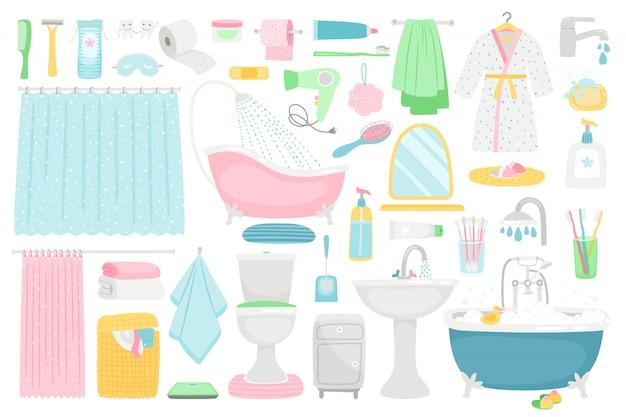 Bathroom cartoon furniture and accessories Premium Vector