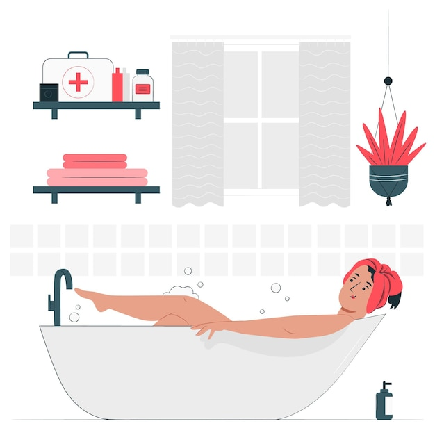 At the bathroom concept illustration Free Vector