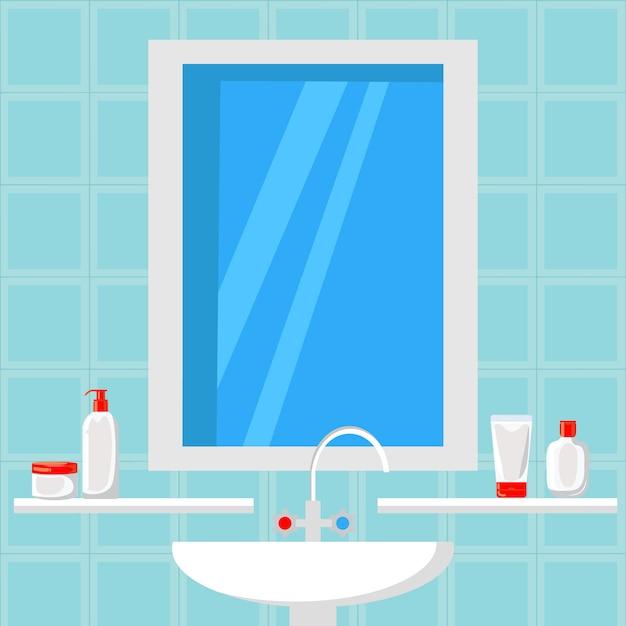 Bathroom design flat vector illustration. banner Premium Vector