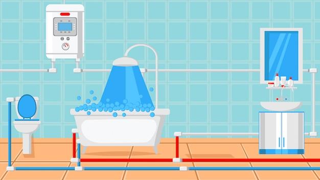 Bathroom design flat vector illustration. Premium Vector